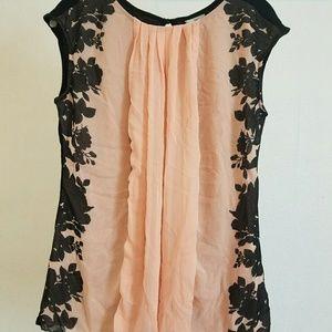 Worthington pink black sheer knit Medium blouse